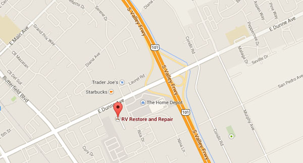 Map to RV Restore and Repair in Morgan Hill, CA